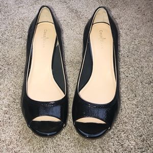 Cole Haan Black Patent Peep Toe Wedge Size 8
